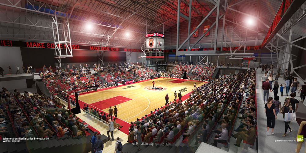 The conceptual drawing of the court-view of Windsor Arena by JP Thompson Architects Ldt for the Windsor Express.