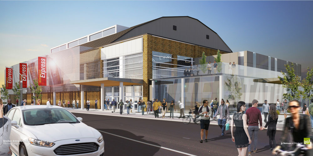 The conceptual drawing of a street view of Windsor Arena by JP Thompson Architects Ldt for the Windsor Express.